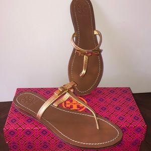 Tory Burch Gold Leather Leighanne Thong Sandal 8.5